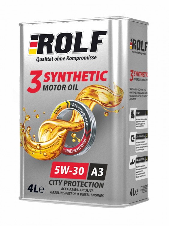 Масло моторное ROLF 3-synthetic 5W-30 ACEA A3/B4 4л